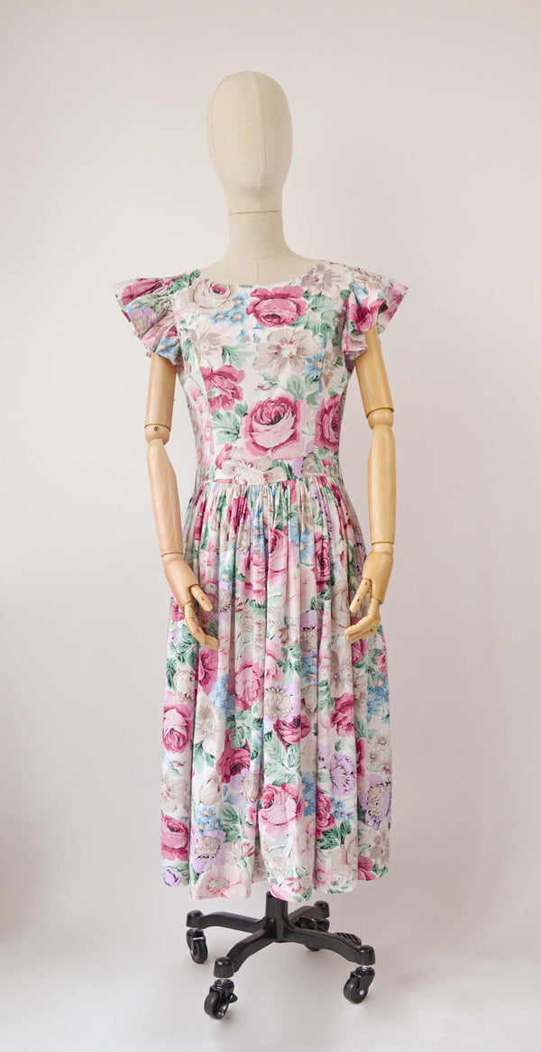 1980s Vintage floral dress from Rene Derhy - Size S
