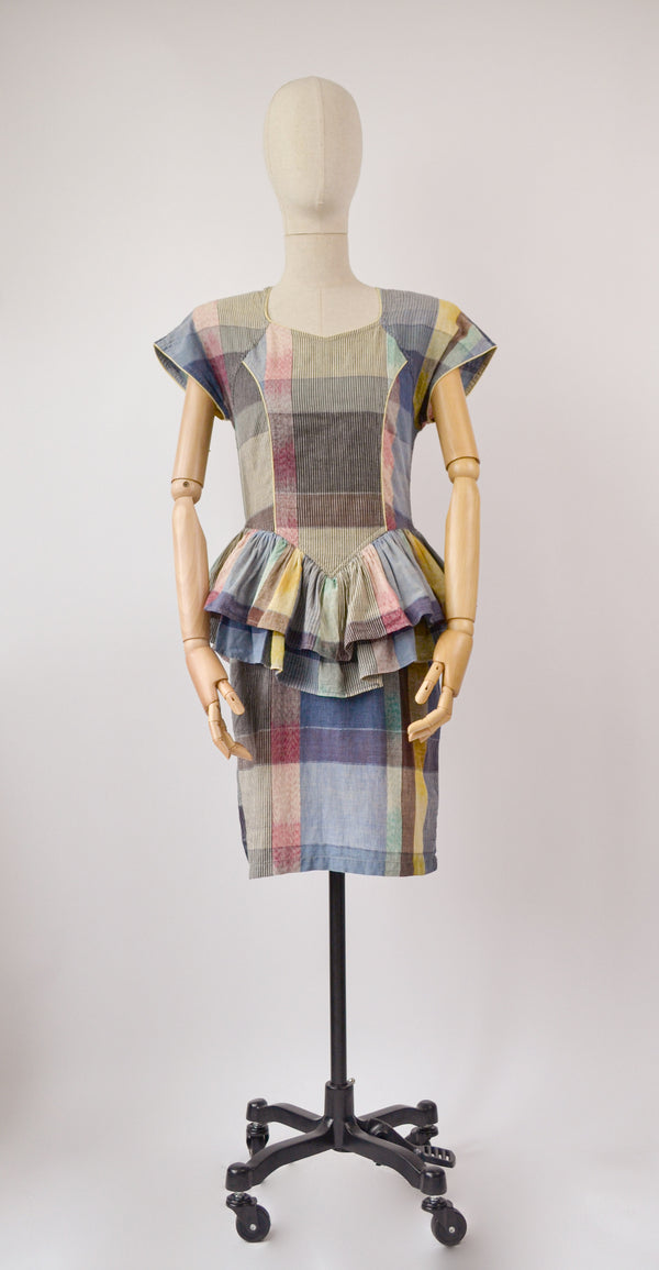 1980s Vintage Madras check pencil dress - Size M