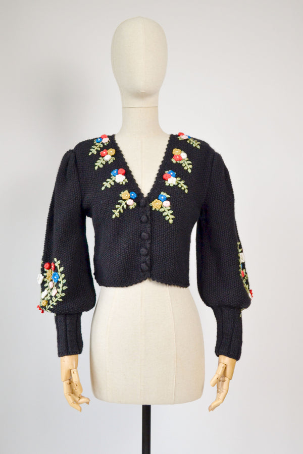 1980s Vintage mutton sleeves Austrian black cardigan with flowers bunch embroidered - Size S/M