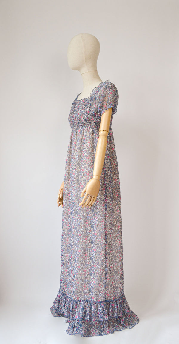 1990s Vintage bohemian floral sheer dress- Size S/M