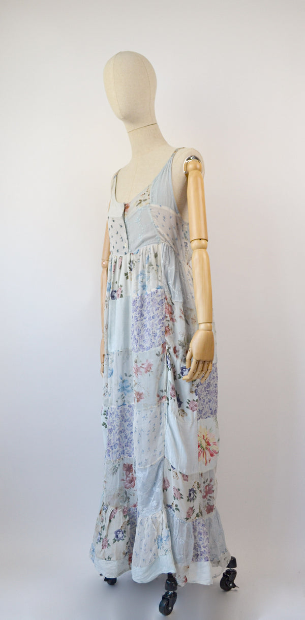 1990s Vintage pastel patchwork floral dress - Size L