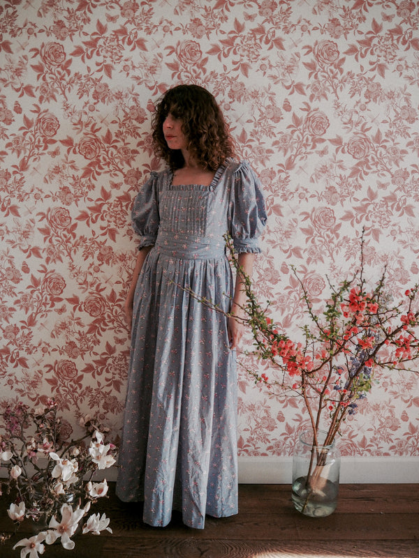 1980s Vintage Laura Ashley blue ditsy floral cotton prairie dress - Size M