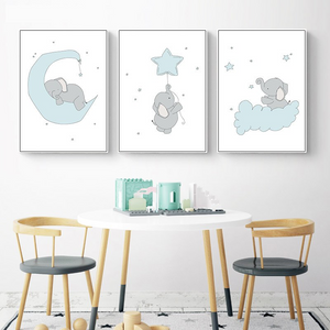 Elephant Nursery Wall Prints (3-Piece Set)
