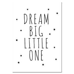 """Dream Big Little One"" Nursery Wall Prints"