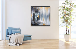 Ballerina Painting hanging on living room wall
