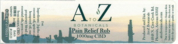 Label for Pain Relief Rub 100mg CBD available in half, 2, and 4 ounce size.
