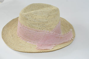 Crochet Panama Hat With Pink Ribbon