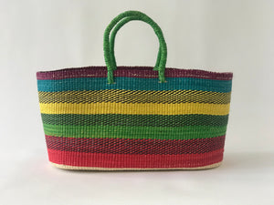 Multicolor Straw Bag with green Handle