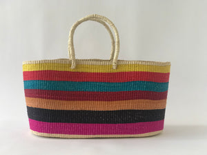 Multicolor Straw Bag with Nude Handle