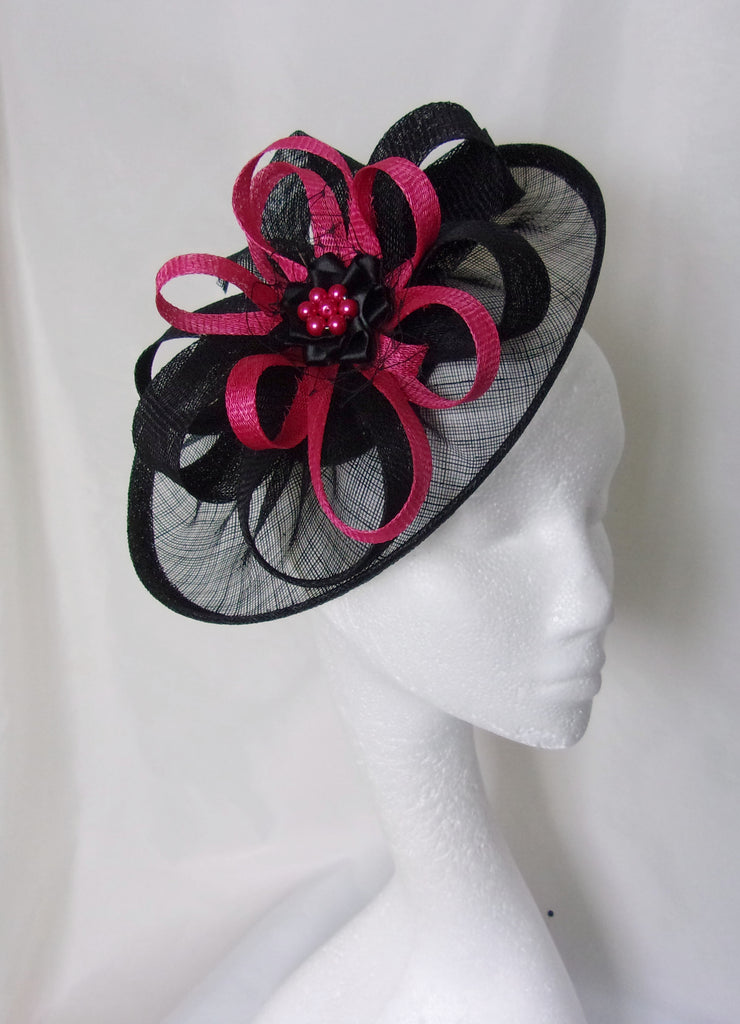 54d43e6145790 ... Black and Cerise Pink Hat - Sinamay Loops   Pearls Saucer Fascinator  Formal Wedding Derby Ascot ...
