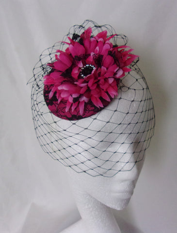 8f33493a Cerise Fuchsia Pink and Black Vintage Retro Headpiece - Gerbera Daisy Flower  Lace with Veil Fascinator