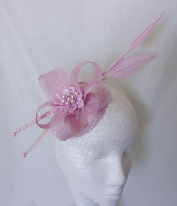 609ef8530fe7e Candy Pale Pink Florence Feather Fascinator Mini Hat – The Indigo ...