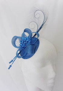 Sapphire Royal Blue Fascinator - Denim Blue Curl Feather Sinamay Loop    Pearl Wedding Royal Ascot 375d2a5cc3b