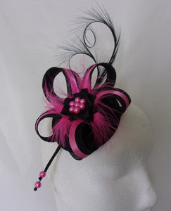 b22495017d66a Black and Fuchsia Pink Fascinator Pheasant Curl Feather Sinamay & Pearl  Wedding Mini Hat Ascot Derby