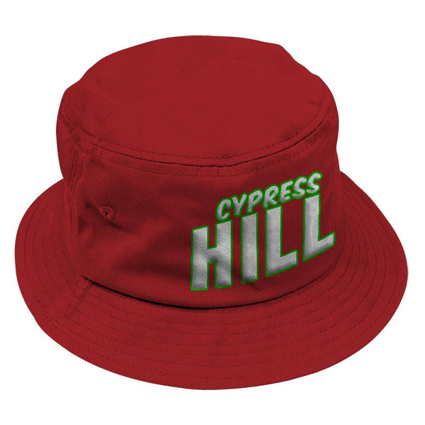 "Cypress Hill ""Block Logo"" Bucket Hat in Red"