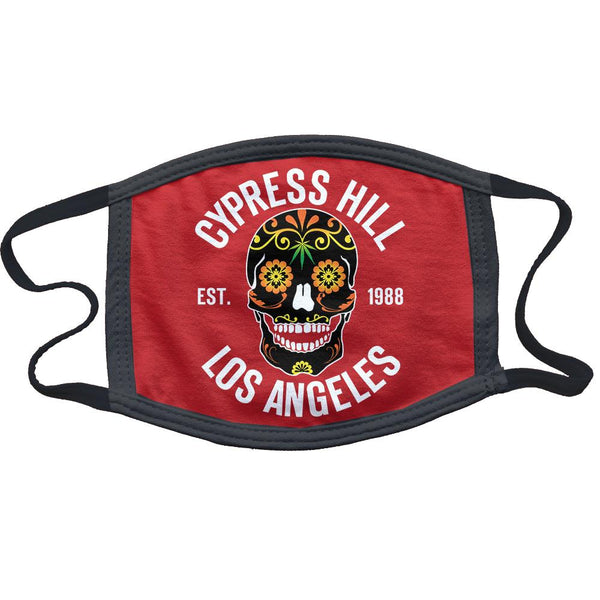 "Cypress Hill ""Day of the Dead"" Reusable and Washable Anti-Germ and Pollution Mask Cover in Red"