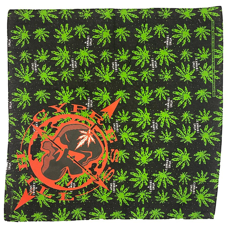 "Cypress Hill ""Skull & Compass"" Bandana in Cannabis Pattern"