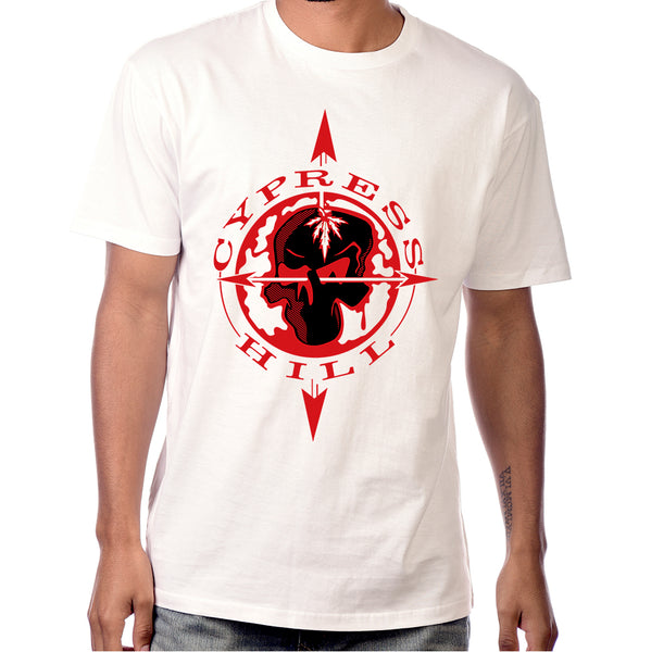 "Cypress Hill ""Skull & Compass"" T-Shirt in White"