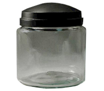 16oz Apothecary Jar with Black Lid