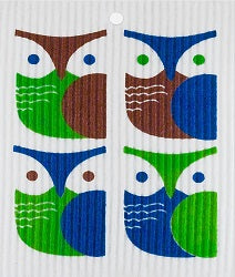 Wash Towel - Owls (Brown,Green,Blue)*