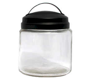 16oz Apothecary Jar with Black Handle Lid - candle-cocoon