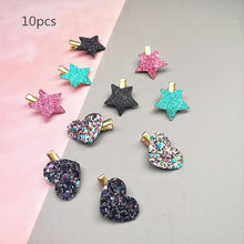 Load image into Gallery viewer, Sythetic Leather small star hair clips 6-10pcs/set