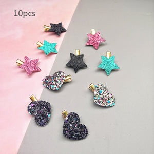 Sythetic Leather small star hair clips 6-10pcs/set