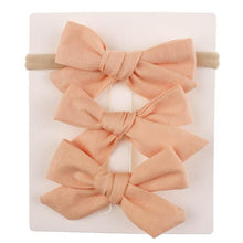 Load image into Gallery viewer, 3 pcs/lot Cotton Bow BB Hair Clips and Headband.
