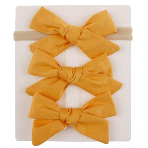 3 pcs/lot Cotton Bow BB Hair Clips and Headband.
