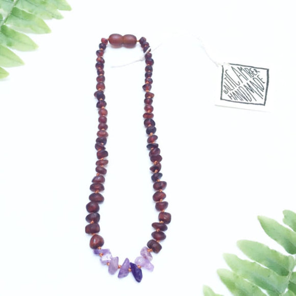 CanyonLeaf - Raw Cognac Amber + Raw Amethyst || Necklace