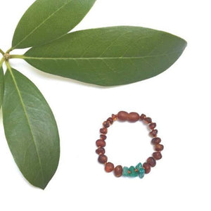 CanyonLeaf - Raw Baltic Amber + Amazonite Stones || Bracelet