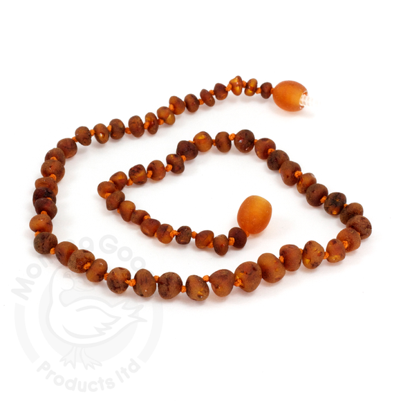 Momma Goose - Baltic Amber Baby Necklace || Unpolished Baroque Cognac