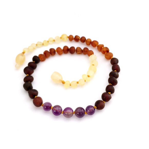 Momma Goose - Baltic Amber Baby Necklace || Raw Rainbow with Amethyst
