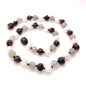 Momma Goose - Baby Amber Necklace:  Dark Cherry, Pearl, and Grey|| Empress