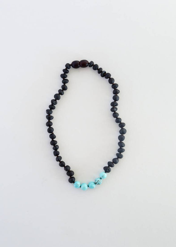 CanyonLeaf - Kids: Raw Black Amber + Turquoise Howlite || Necklace
