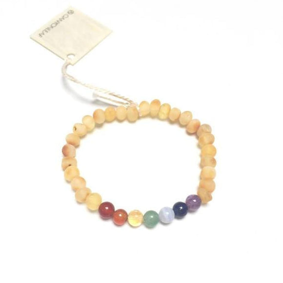 CanyonLeaf - Adult: Raw Honey Amber + Chakra Crystals || Bracelet