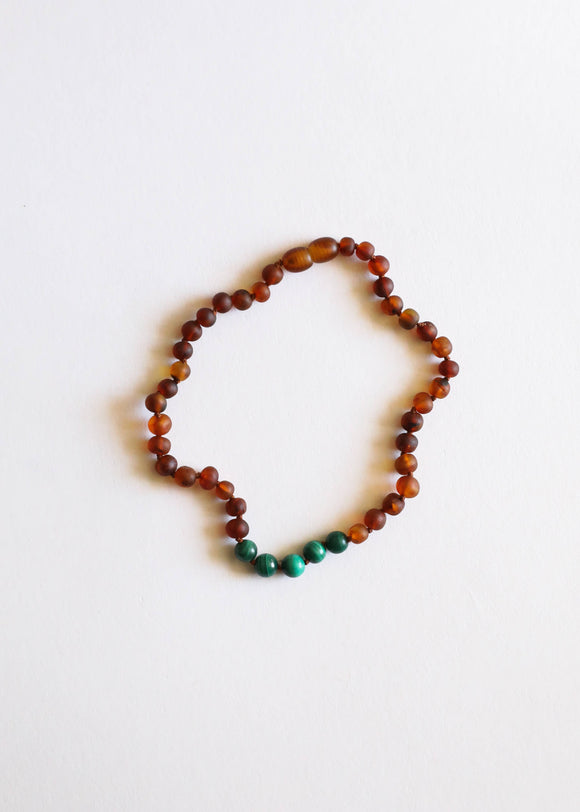 CanyonLeaf - Adult: Raw Cognac Amber + Malachite || Necklace