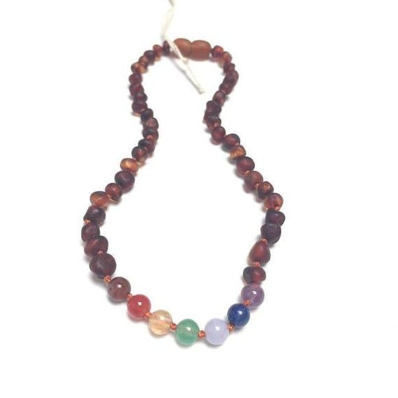 CanyonLeaf - Raw Cognac Baltic Amber + Chakra Crystals || Necklace