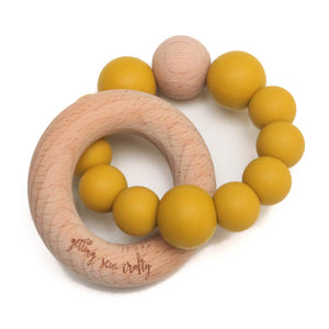 Getting Sew Crafty - Teether - Silicone + Wood - Crew-  |Mustard|
