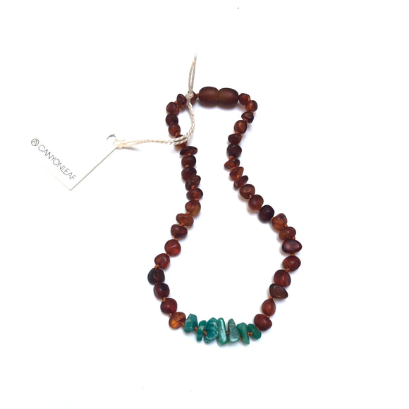 CanyonLeaf - Adult: Raw Cognac Amber + Raw Green Amazonite || Necklace