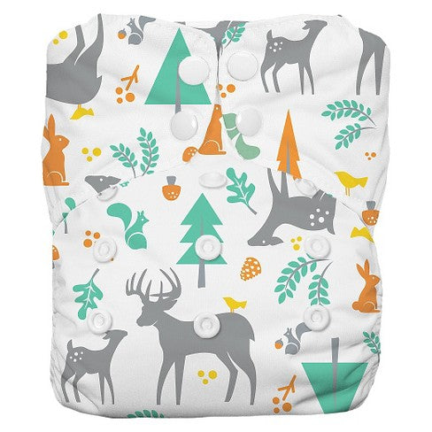 Thirsties Natural One Size All in One, Snap Closure - Woodland
