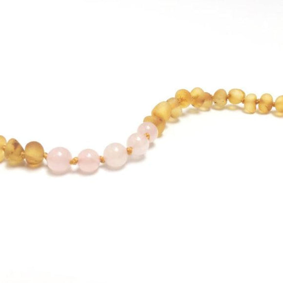 CanyonLeaf - Adult: Raw Honey Amber + Rose Quartz || Necklace