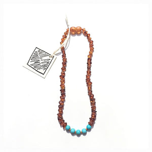 CanyonLeaf - Raw Cognac Amber + Turquoise Howlite || Necklace