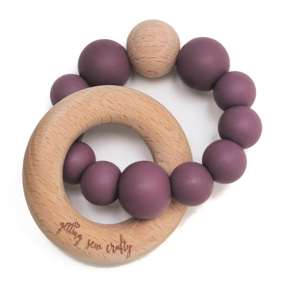 Getting Sew Crafty - Teether - Silicone + Wood - Crew- |Mauve|