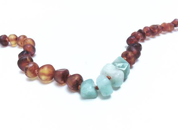 CanyonLeaf - Raw Cognac Amber + Amazonite || Necklace