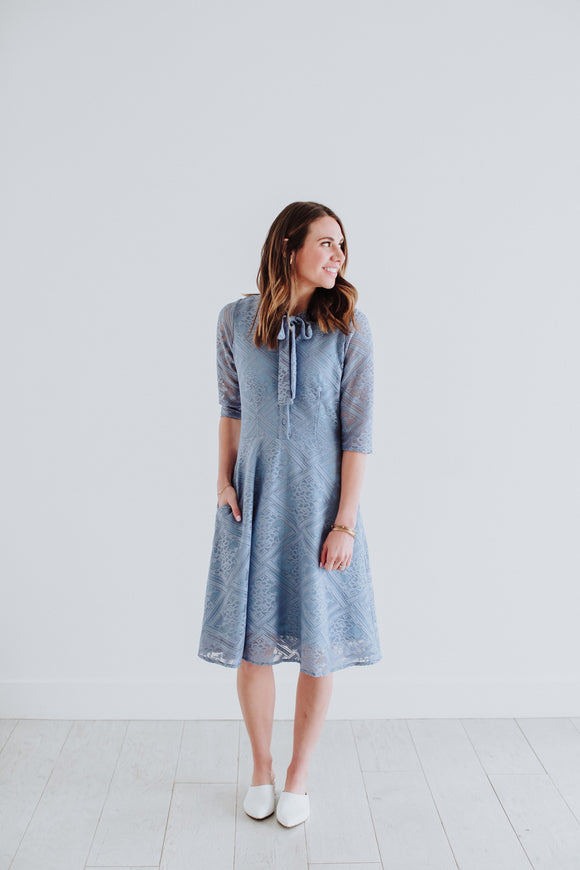 Honeysuckle - Denise Dress in Dusty Blue