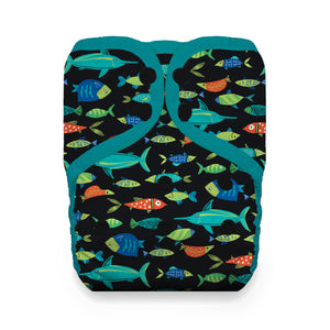Thirsties - Natural One Size Pocket, Snap Closure - Fish Tales