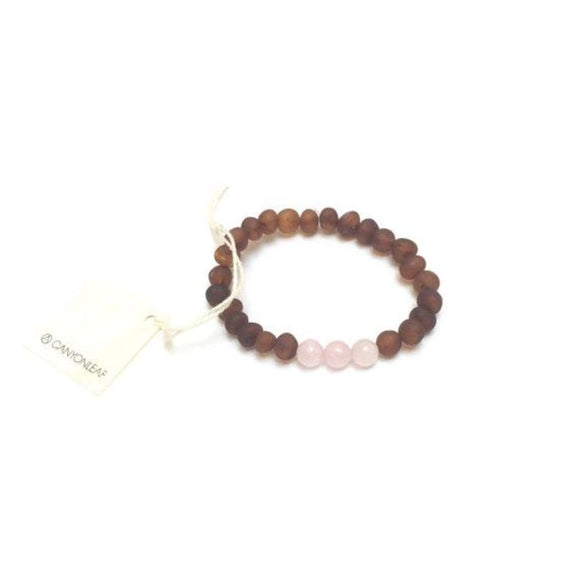 CanyonLeaf - Adult: Raw Cognac Baltic Amber + Rose Quartz  || Bracelet