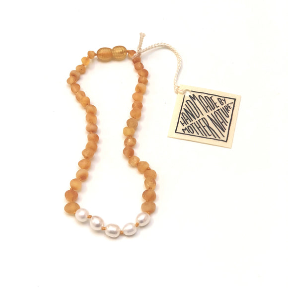 CanyonLeaf - Raw Honey Amber + Pearl || Necklace