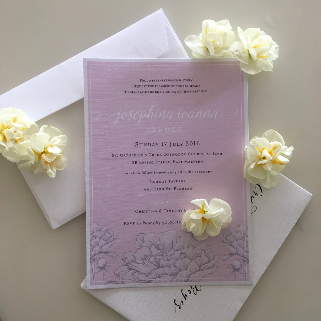 Josephina's Christening Invitations
